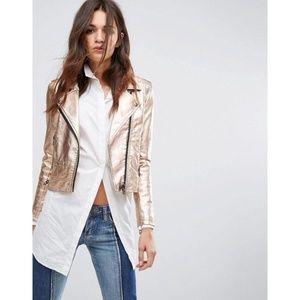BLANKNYC Metallic Jacket Rose Gold Moto Size M